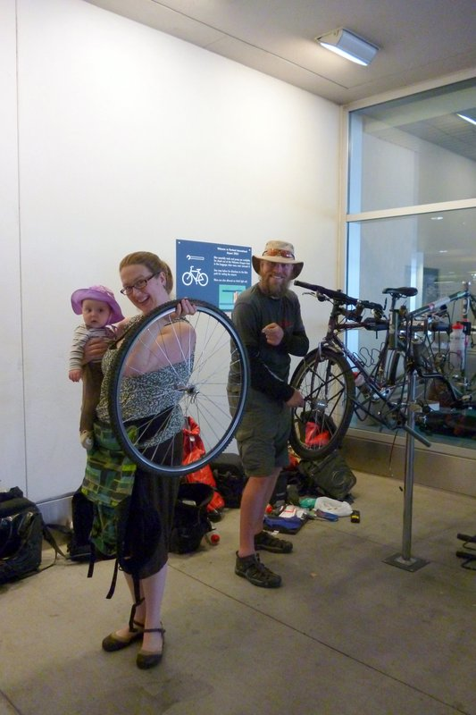 Bicycle fettling at Portland airport
