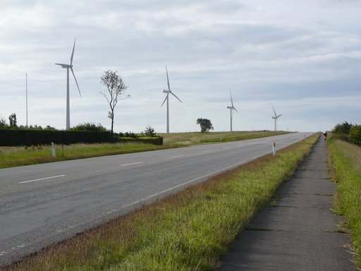 wind mills next to the road