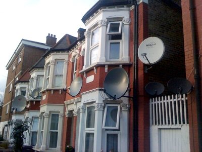 satellite dish outside houses